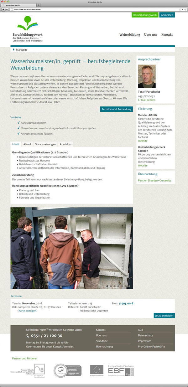 Screendesign Landingpage Wasserbaumeister